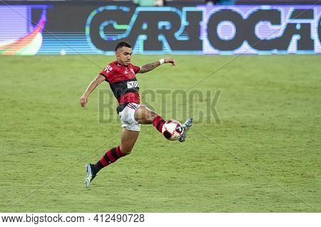 Rio, Brazil - March 14, 2021: Matheuzinho Player In Match Between Flamengo V Fluminense By Carioca C