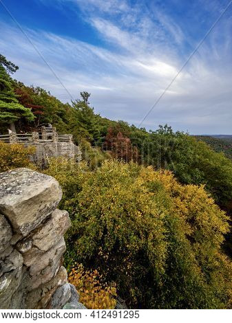 Overlook Of The Mountains And The Fall Foliage At Coopers Rock State Forest In West Virginia With Th
