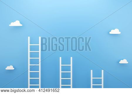 White Ladder With Blue Background, Copy Space For Text Advertising Concept, 3d Render