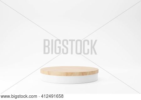 Wood Podium On White Background For Product Advertising, Minimal Style, 3d Rendering