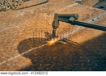 Checker Plate Or Diamond Plate Cutting By Oxygen Acetylene Cutting Torch Technique In Vintage Tone