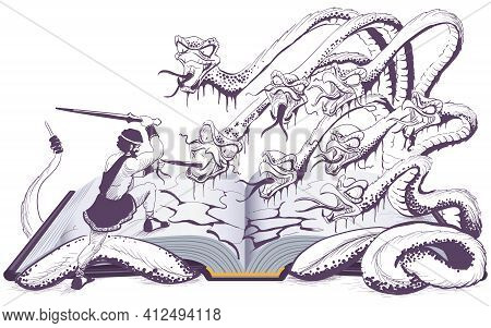 Hercules Heracles Fight With Hydra Ancient Greek Myth Open Book Illustration