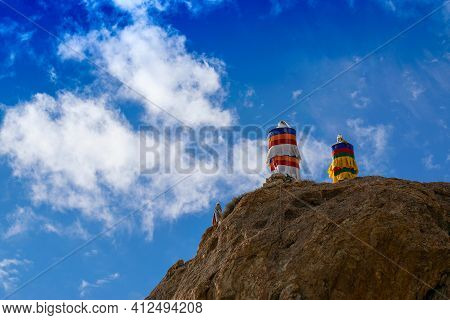 Buddhist Religious Flags, Blue Cloudy Sky And Mountains Of Mulbekh, Himalayan Mountains , Ladakh, Ja