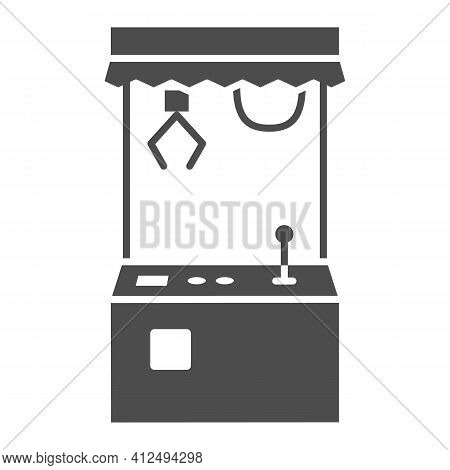 Toy Machine Solid Icon, The Rides Concept, Crane Machine Sign On White Background, Crane Game Machin