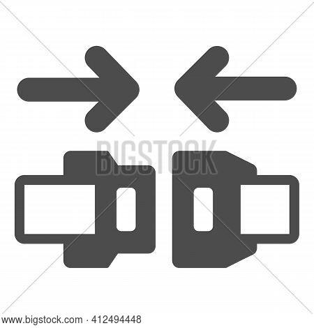 Fasten Seat Belt Solid Icon, Car Parts Concept, Safe Belts Sign On White Background, Travel Seat Bel
