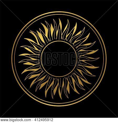 Abstract Boho Hand Drawn Illustration, Golden Sun Or Moon In A Circle Frame On A Black Background. G
