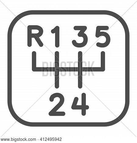 Five-speed Gearbox Line Icon, Car Parts Concept, Car Transmission Sign On White Background, Gear Box