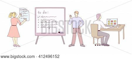 Team Members Plan And Organize Teamwork Using To-do Board And App. Scheduling And Track All Tasks An