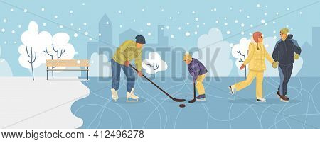 Active People In Winter City Park. Winter Time. Dad And Son Are Playing Hockey, Couple In Love Is Sk