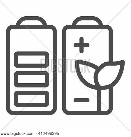 Battery Charge And Plant Battery Line Icon, Electric Car Concept, Green Energy Logo Sign On White Ba