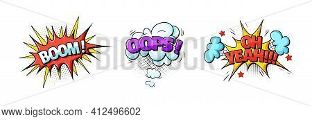 Comic Speech Bubble. Speech Clouds With Quotes, Exclamations, Surprise, Admiration, Anger, Sound Eff