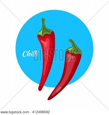 Red Chilli Pepper Isolated On Blue Background. Healthy Organic Food. Hot Red Chili Mexican Peppers,