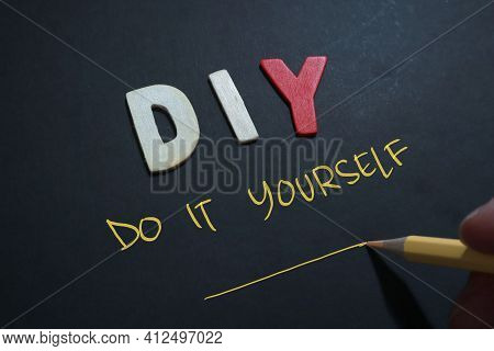 Diy Do It Yourself, Text Words Typography Written On Wooden Lettering, Life And Business Motivationa