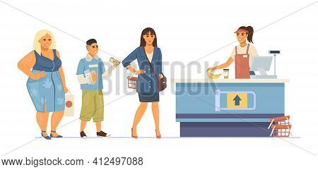 Group People Waiting In Queue Supermarket. Food Store Fat Woman, Kid And Businesswoman In The Queue
