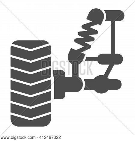 Car Wheel And Suspension With Shock Absorber Solid Icon, Car Parts Concept, Suspension Parts Symbol