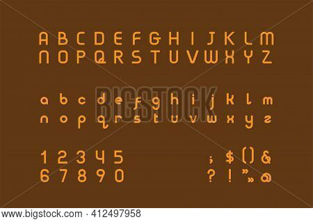 Golden Sans-serif Typeface In Art Deco Style. The Alphabet Draws Inspiration From Bold Geometric For