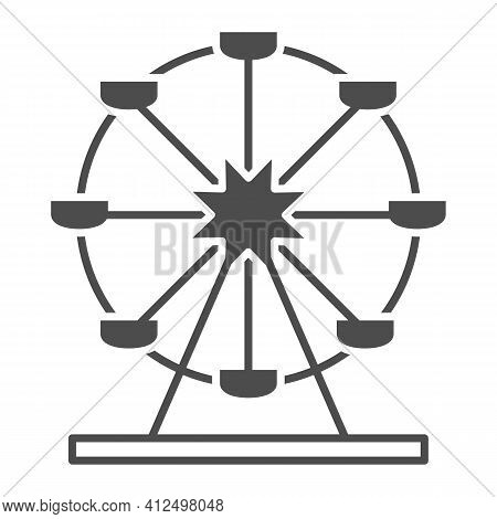 Attraction Ferris Wheel Solid Icon, The Rides Concept, Entertainment Round Attraction Sign On White