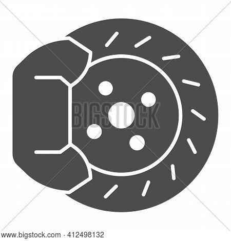 Machine Brake Pad Solid Icon, Car Parts Concept, Brake Disc Sign On White Background, Auto Brake Ico