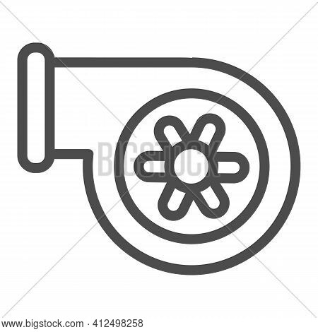 Automotive Turbine Line Icon, Car Parts Concept, Car Turbine Sign On White Background, Turbocharger