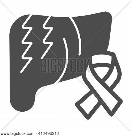 Liver And Cancer Tape Solid Icon, World Cancer Day Concept, Ribbon For Liver Cancer Sign On White Ba