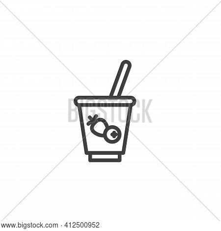 Fruit Yogurt Cup Line Icon. Linear Style Sign For Mobile Concept And Web Design. Yogurt Breakfast Ou