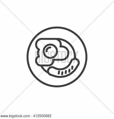English Breakfast Plate Line Icon. Linear Style Sign For Mobile Concept And Web Design. Breakfast Wi