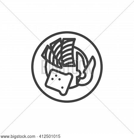 Breakfast With Bacon And Toast Line Icon. Linear Style Sign For Mobile Concept And Web Design. Healt