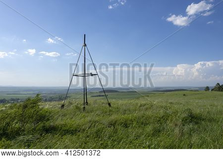 Countryside Landscape View From The Top Of The Hill. Panorama Of The Plains. Triangulation Point.