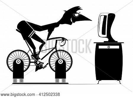 Cyclist Trains At Home On The Exercise Bike Illustration.  Cyclist Young Man Rides On Exercise Bike