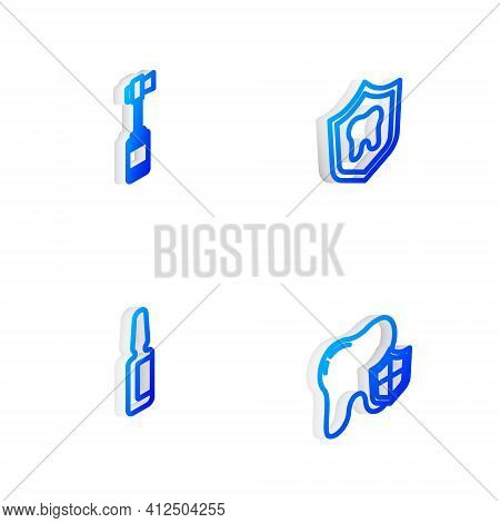 Set Isometric Line Dental Protection, Toothbrush, Painkiller Tablet And Icon. Vector