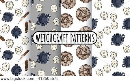 Set Of Magical Witchcraft Seamless Border Patterns. Comic Style Doodles Of Cauldrons, Candles, Quart