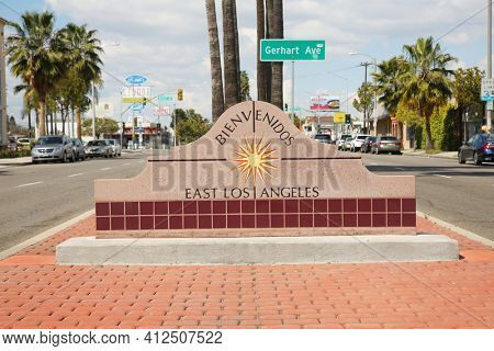 March 12, 2021 - East Los Angeles, California:  East Los Angeles Welcome Sign. Editorial Use Only.