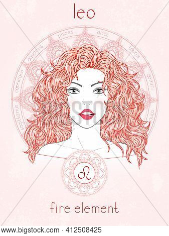Vector Illustration Of Leo Zodiac Sign, Portrait Beautiful Girl And Horoscope Circle. Fire Element.