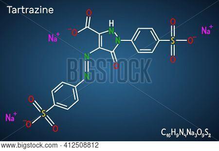 Tartrazine Molecule. It Is Trisodium Salt Of Tartrazine Acid, Yellow Azo Dye, Food Dye, Food Colouri