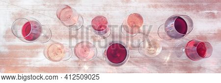Wine Styles Panorama. Various Wine Glasses, Shot From Above
