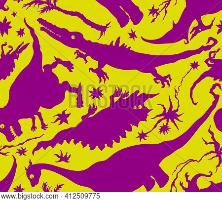 Seamless Background With Grotesque Fantasy Creatures Dinosaurs