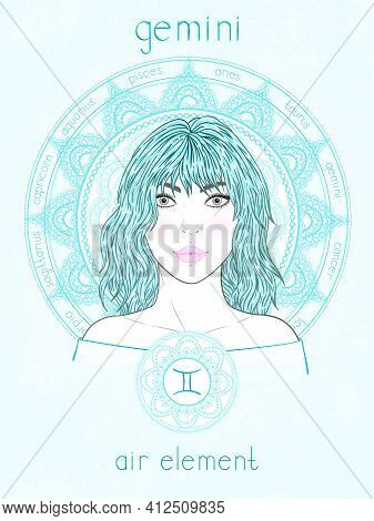 Vector Illustration Of Gemini Zodiac Sign, Portrait Beautiful Girl And Horoscope Circle. Air Element