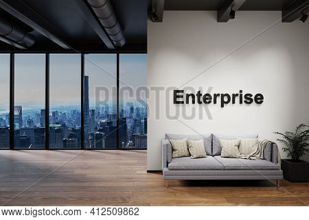 Modern Luxury Loft With Skyline View And Vintage Couch, Wall With Enterprise Lettering, 3d Illustrat