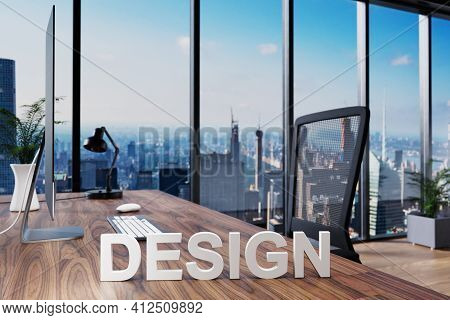 Design; Office Chair In Front Of Workspace With Computer And Skyline View; Banking Concept; 3d Illus