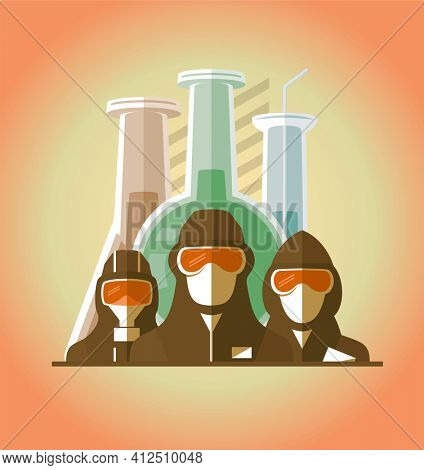 Scientists, lifeguards, doctors, builders dressed in protective suits and masks, map of the earth and test tubes on a backdrop. Scientific chemically medical concept poster, rasterized version