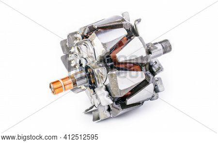 Alternator Rotor Spare Part On An Isolated White Background.