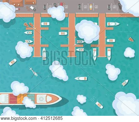 Illustration Of A Pier In Flat Style. Top View Of The Harbor. Wooden Piers With Boats. Container Shi