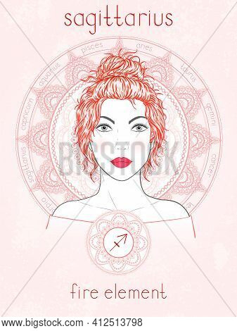 Vector Illustration Of Sagittarius Zodiac Sign, Portrait Beautiful Girl And Horoscope Circle. Fire E