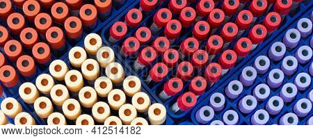 Berlin, Germany - May 15, 2014 : BD Vacutainer tubes, vacuum tubes for collecting blood samples in the lab