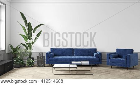 Mid-century Modern White Interior With Blue Sofa And Armchair, Coffee Table And Decor. 3d Render Ill