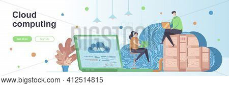 Cloud Computing Landing Page With People Characters. Hosting Platform Service Web Banner. Data Stora