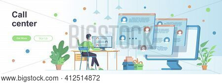 Call Center Landing Page With People Characters. Online Hotline And Helpdesk Web Banner. Customer As