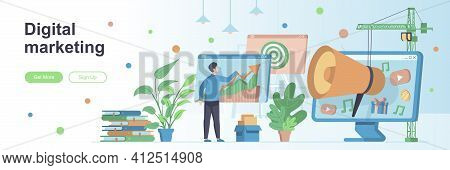 Digital Marketing Landing Page With People. Social Media And Web Content Promotion Web Banner. Smm A