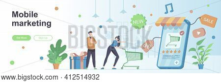 Mobile Marketing Landing Page With People Characters. Mobile Advertising, Promotion Web Banner. Reta