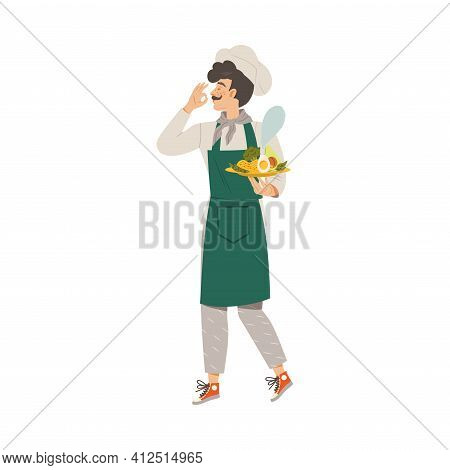 Moustached Man As Super Chef In Toque And Apron Carrying Served Dish Vector Illustration
